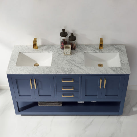 "Remi 60"" Double Bathroom Vanity Set in Royal Blue without Mirror"