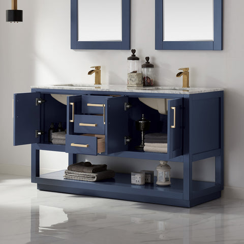 "Remi 60"" Double Bathroom Vanity Set in Royal Blue  with Mirror"