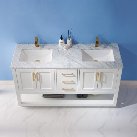 "Remi 60"" Double Bathroom Vanity Set in White  without Mirror"