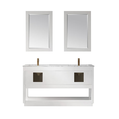"Remi 60"" Double Bathroom Vanity Set in White  with Mirror"