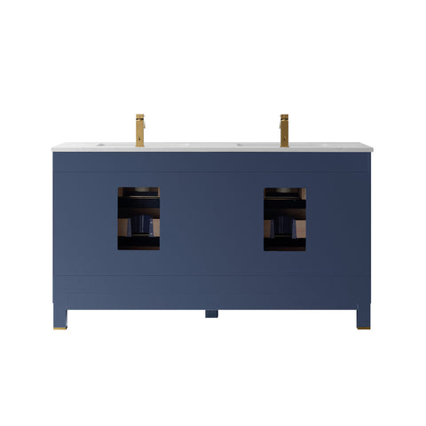 "Jackson 60"" Double Bathroom Vanity Set in Royal Blue  without Mirror"