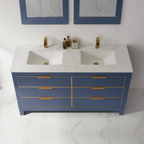 "Jackson 60"" Double Bathroom Vanity Set in Royal Blue with Mirror"