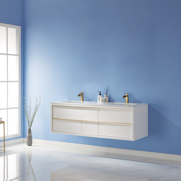 "Altair Design Morgan 60"" Double Bathroom Vanity Floating/Wall Mounted in White  without Mirror,  H 19.7 x W 59.6 x D 21.8"""