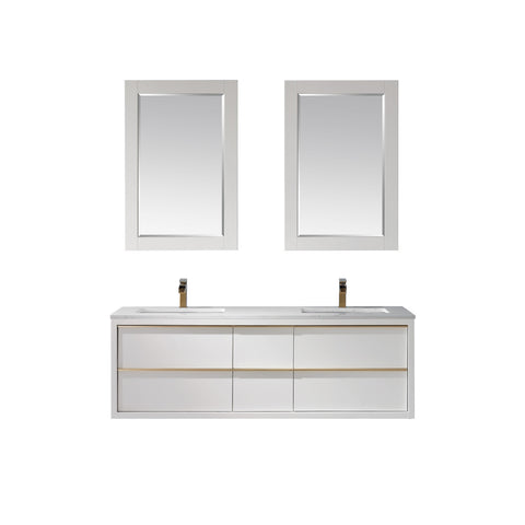 "Morgan 60"" Double Bathroom Vanity Floating/Wall Mounted in White  with Mirror"