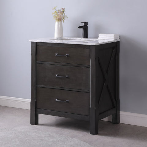 "Image of Maribella 30"" Single Bathroom Vanity Set in Rust Black Without Mirror"