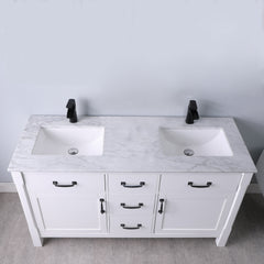 "Altair Design Maribella 60"" Double Bathroom Vanity Set in White  Without Mirror,  H 33.8 x W 59.2 x D 21.6"""