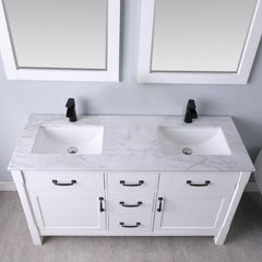 "Altair Design Maribella 60"" Double Bathroom Vanity Set in White With Mirror,  H 33.8 x W 59.2 x D 21.6"""