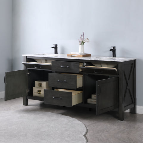 "Image of Maribella 72"" Double Bathroom Vanity Set in Rust Black  Without Mirror"