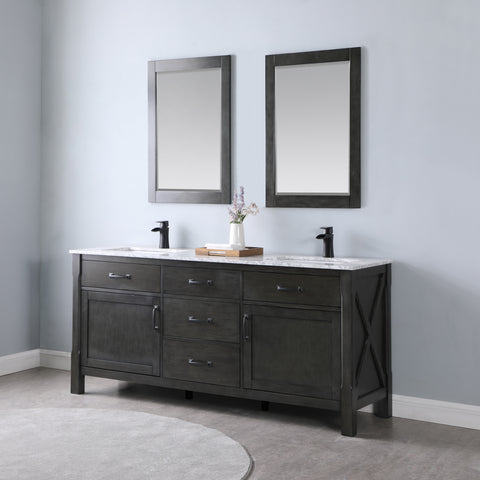 "Maribella 72"" Double Bathroom Vanity Set in Rust Black  With Mirror"