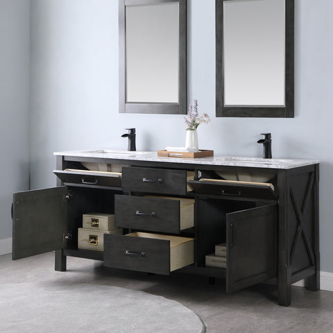 "Image of Maribella 72"" Double Bathroom Vanity Set in Rust Black  With Mirror"