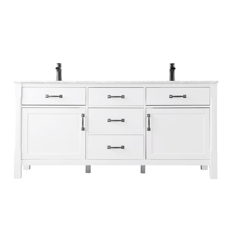"Maribella 72"" Double Bathroom Vanity Set in White  Without Mirror"