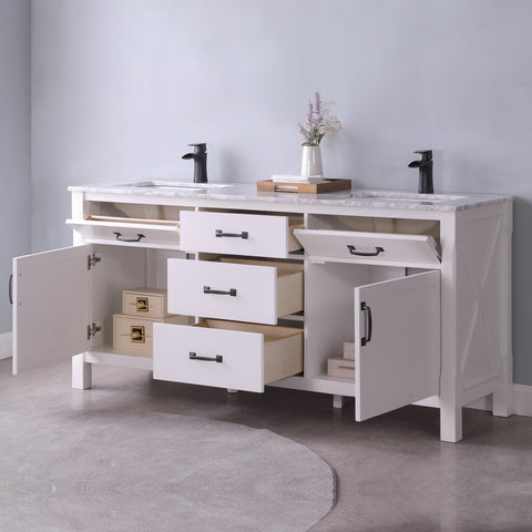 "Image of Maribella 72"" Double Bathroom Vanity Set in White  Without Mirror"