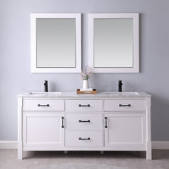 "Altair Design Maribella 72"" Double Bathroom Vanity Set in White  With Mirror, H 33.8 x W 71.2 x D 21.6"""