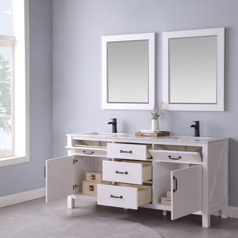 "Maribella 72"" Double Bathroom Vanity Set in White  With Mirror"