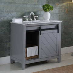 "Altair Design Kinsley 36"" Single Bathroom Vanity Set in Grey without Mirror,  H 33.8 x W 35.2 x D 21.6"""