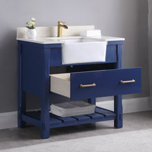 "Load image into Gallery viewer, Altair Design Georgia 36""  Blue Single Bathroom Vanity Set without Mirror, H 33.8 x W 35.2 x D 21.6"""