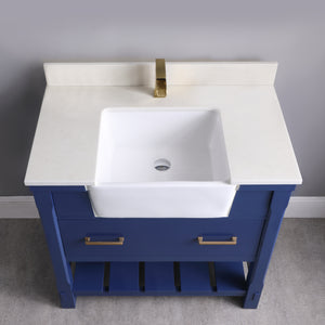 "Altair Design Georgia 36""  Blue Single Bathroom Vanity Set without Mirror, H 33.8 x W 35.2 x D 21.6"""