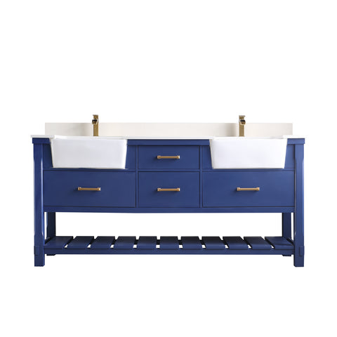 "Image of Georgia 72"" Double Bathroom Vanity Set in Jewelry Blue without Mirror"