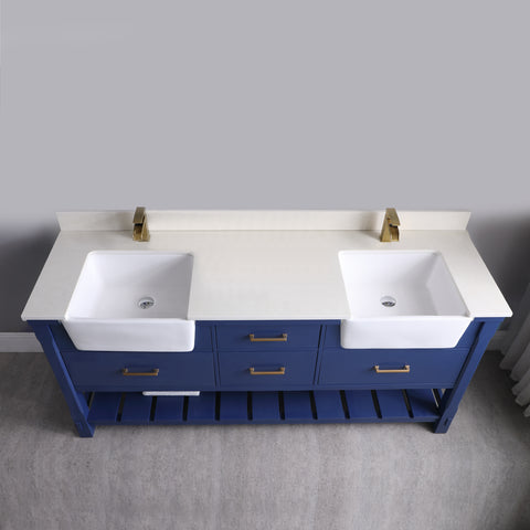 "Georgia 72"" Double Bathroom Vanity Set in Jewelry Blue without Mirror"