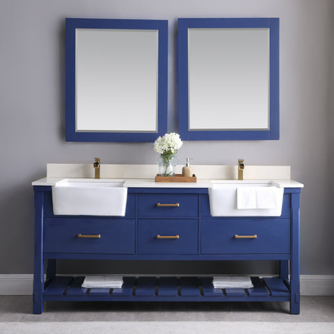 "Georgia 72"" Double Bathroom Vanity Set in Jewelry Blue with Mirror"