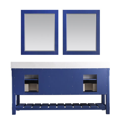 "Image of Georgia 72"" Double Bathroom Vanity Set in Jewelry Blue with Mirror"
