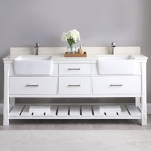 "Load image into Gallery viewer, Altair Design Georgia 72"" Double Bathroom Vanity Set in White without Mirror,  H 33.8 x W 71.2 x D 21.6"""