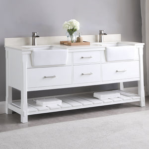 "Altair Design Georgia 72"" Double Bathroom Vanity Set in White without Mirror,  H 33.8 x W 71.2 x D 21.6"""