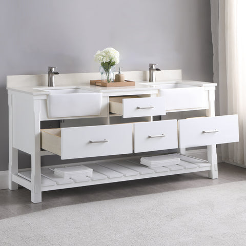 "Image of Georgia 72"" Double Bathroom Vanity Set in White without Mirror"