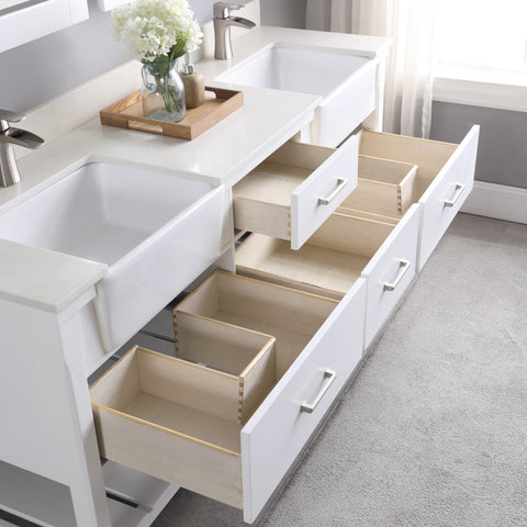 "Georgia 72"" Double Bathroom Vanity Set in White without Mirror"