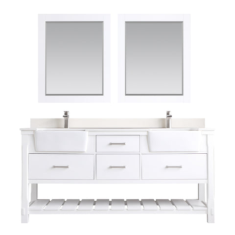 "Georgia 72"" Double Bathroom Vanity Set in White  with Mirror"