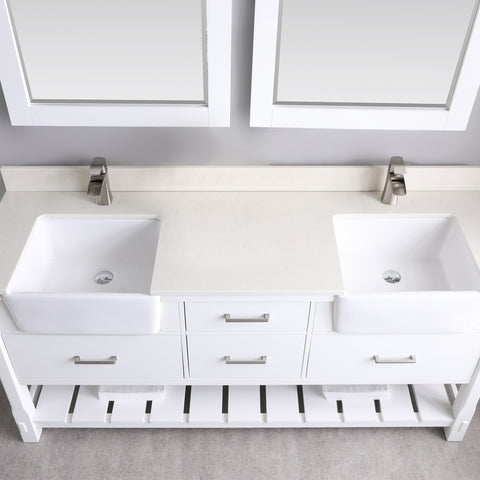 "Image of Georgia 72"" Double Bathroom Vanity Set in White  with Mirror"