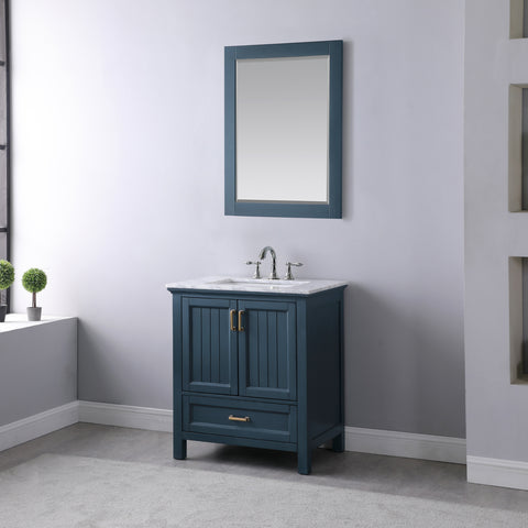 "Image of Isla 30"" Single Bathroom Vanity Set in Classic Blue with Mirror"