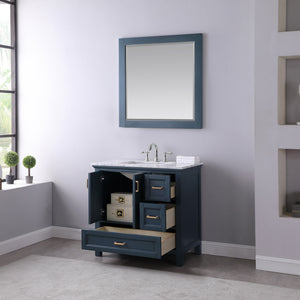 "Isla 36"" Single Bathroom Vanity Set in Classic Blue with Mirror"