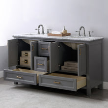 "Load image into Gallery viewer, Altair Design Isla 60"" Double Bathroom Vanity Set in Grey  without Mirror,  H 33.8 x W 59.2 x D 21.6"""