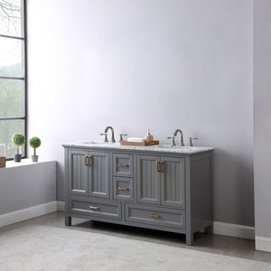 "Altair Design Isla 60"" Double Bathroom Vanity Set in Grey  without Mirror,  H 33.8 x W 59.2 x D 21.6"""