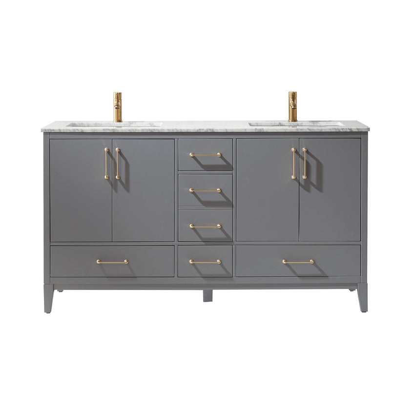 "Altair Design Sutton 60"" Double Bathroom Vanity Set in Grey  without Mirror,  H 33.1 x W 59.2 x D 21.6"""
