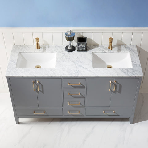 "Sutton 60"" Double Bathroom Vanity Set in Grey  without Mirror"