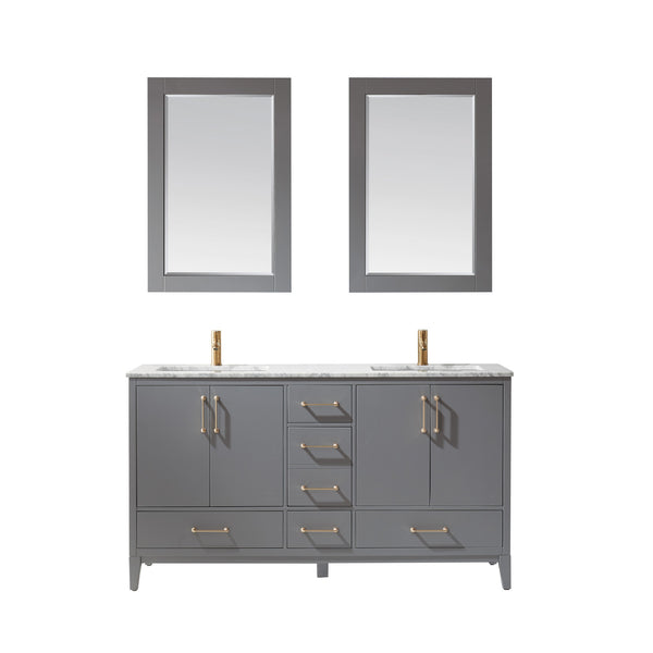 "Altair Design Sutton 60"" Double Bathroom Vanity Set in Grey with Mirror,  H 33.1 x W 59.2 x D 21.6"""