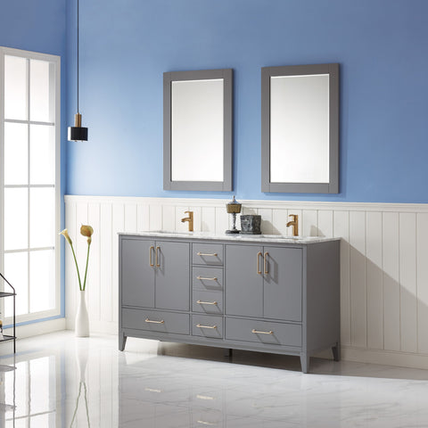 "Image of Sutton 60"" Double Bathroom Vanity Set in Grey with Mirror"
