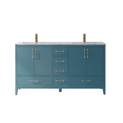 "Sutton 60"" Double Bathroom Vanity Set in Royal Green  without Mirror"