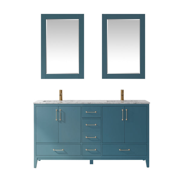 "Altair Design Sutton 60"" Double Bathroom Vanity Set in Royal Green  with Mirror,  H 33.1 x W 59.2 x D 21.6"""