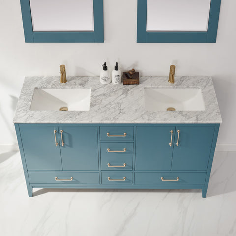 "Sutton 60"" Double Bathroom Vanity Set in Royal Green  with Mirror"