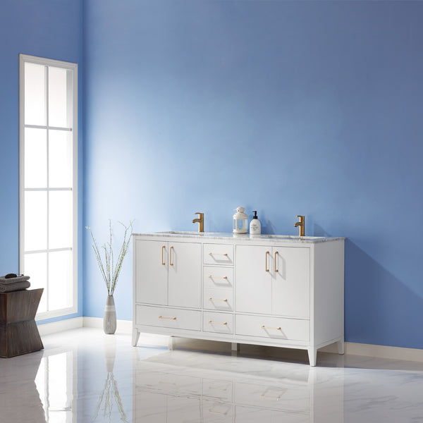 "Altair Design Sutton 60"" Double Bathroom Vanity Set in White  without Mirror, H 33.1 x W 59.2 x D 21.6"""