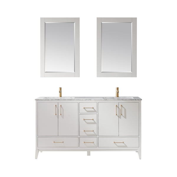 "Altair Design Sutton 60"" Double Bathroom Vanity Set in White with Mirror,  H 33.1 x W 59.2 x D 21.6"""