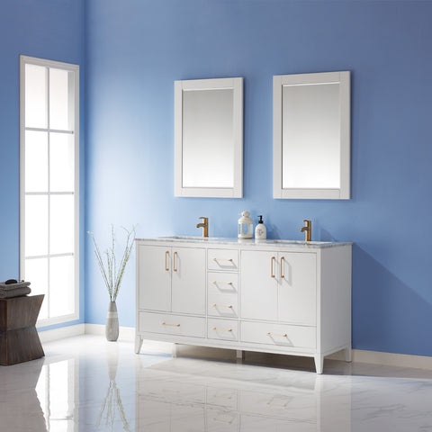 "Sutton 60"" Double Bathroom Vanity Set in White with Mirror"