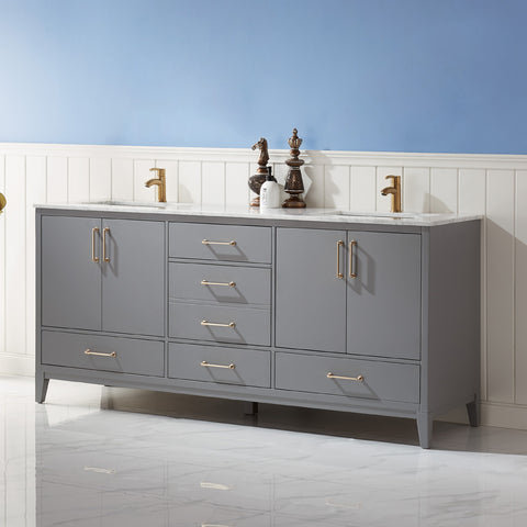 "Sutton 72"" Double Bathroom Vanity Set in Grey  without Mirror"
