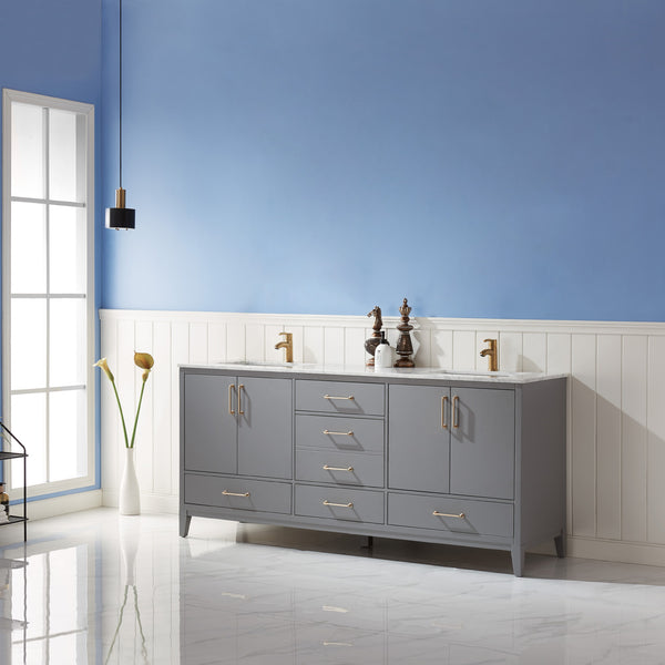 "Altair Design Sutton 72"" Double Bathroom Vanity Set in Grey  without Mirror,  H 33.1 x W 71.2 x D 21.6"""