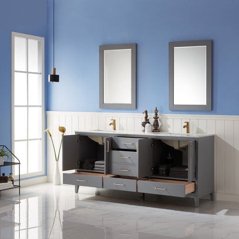 "Image of Sutton 72"" Double Bathroom Vanity Set in Grey  with Mirror"