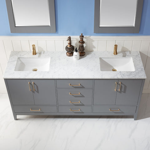 "Sutton 72"" Double Bathroom Vanity Set in Grey  with Mirror"