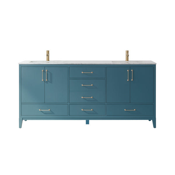 "Altair Design Sutton 72"" Double Bathroom Vanity Set in Royal Green  without Mirror,  H 33.1 x W 71.2 x D 21.6"""